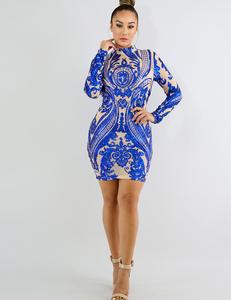 Blauwe sequin nude jurk