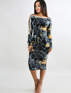 Splash corset sleeve dress