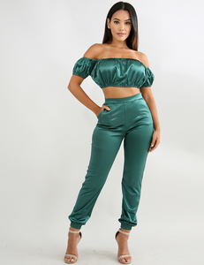 Satin green 2 piece set