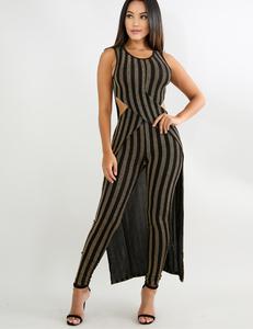 Striped pants set gold