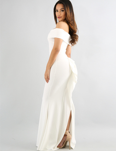 Off shoulder flared maxi dress wit