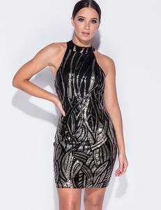  Zwarte halter paillette jurk