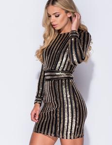  Zwart gouden cocktail jurk