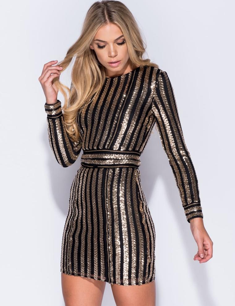 Zwarte jurk met gouden rits