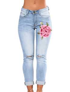 Floral jeans washed