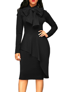 Bow tie cape dress zwart