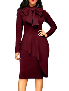 Bow tie cape dress wine