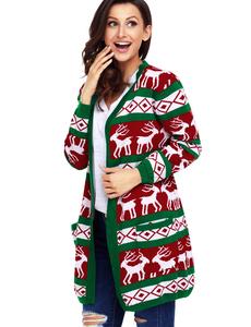 Reindeer christmas cardigan rood