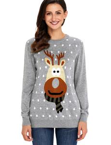 Reindeer christmas sweater grijs