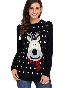 Reindeer christmas sweater zwart