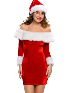 Christmas jurkje off shoulder