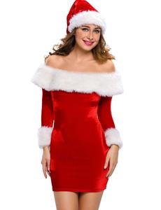 Christmas jurkje off shoulder