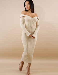 Ribbed dress nude