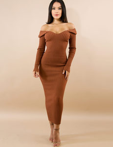 Ribbed dress brown