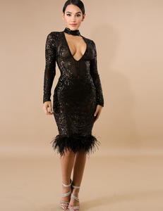 Fluffy sequin dress zwart
