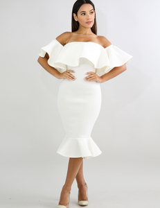 Witte Flared off shoulder dress