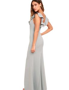 Ruffle gala jurk grijs