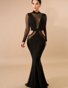 Shimmer black mermaid dress