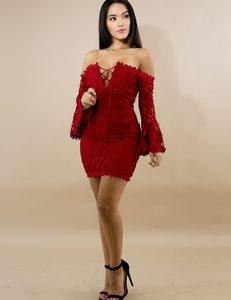 Kanten rode jurk