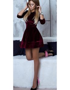 Velvet skater dress wine