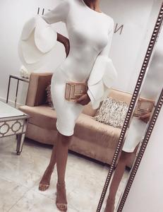 Scuba floral cuff dress white