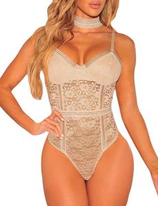 Bustier lace bodysuit nude