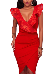 Ruffle wrap dress rood