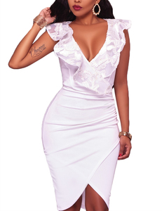 Ruffle wrap dress wit