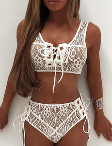 Lace crochet bikini wit