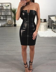 Strapless leather dress zwart