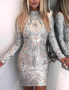 Silver nude bodycon dress