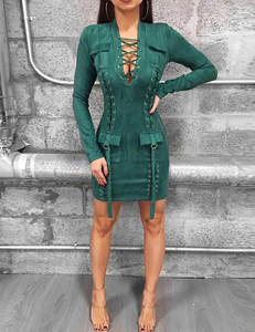 Suede dress green