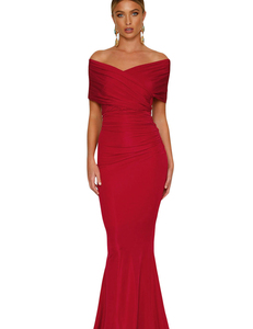 Off shoulder gala jurk rood