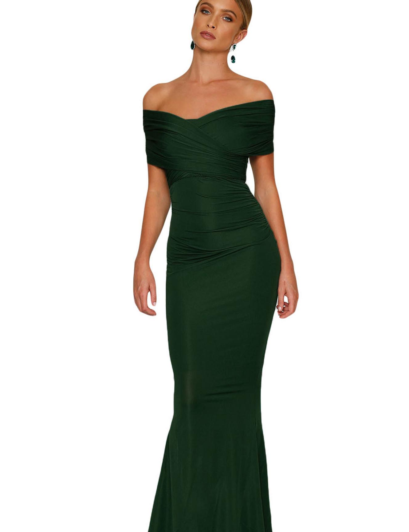Zeer Cloozy — Off shoulder gala jurk groen ZW79