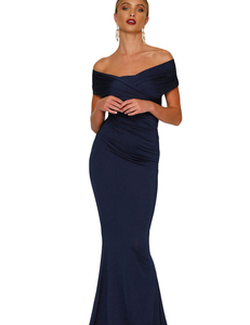 Off shoulder gala jurk Blauw