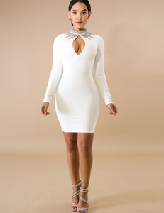 Stone bodycon jurk wit