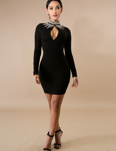Stone bodycon jurk zwart