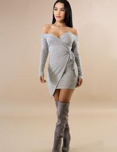 Grey off shoulder wrap dress