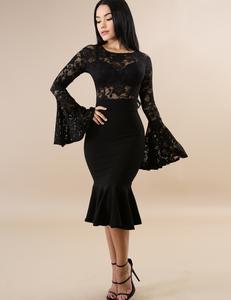 Flared mermaid jurk zwart