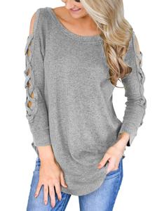 Crisscross sweater grijs