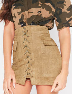 Lace up suede rok khaki