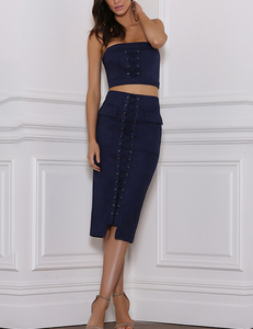 Suede lace up 2 piece blauw
