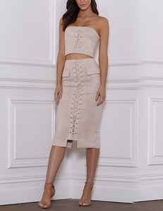 Suede lace up 2 piece nude