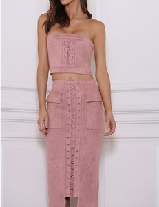 Suede lace up 2 piece roze