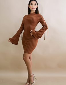 Flared ribbed dress bruin