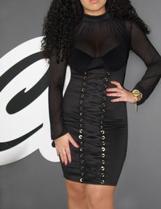 Lace up midi dress zwart