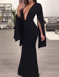 Black backless cape dress