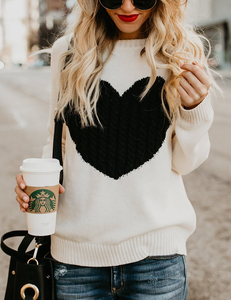 Hearted sweater wit