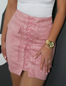 Lace up suede rok roze