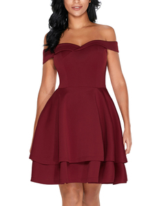 Off shoulder skater jurk wine